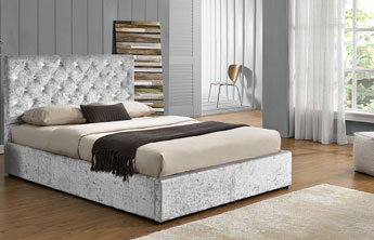 Charterhouse Crushed Velvet Storage Ottoman Bed Silver-1