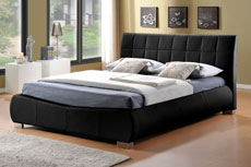 Devine Designer Faux Leather Bed Black