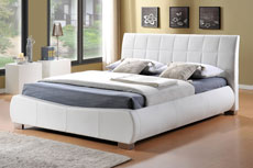 Devine Designer Faux Leather Bed White
