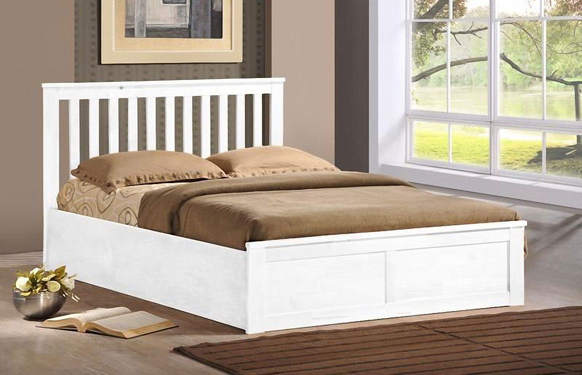Oxford Ottoman Storage Bed Oak Or White Finish
