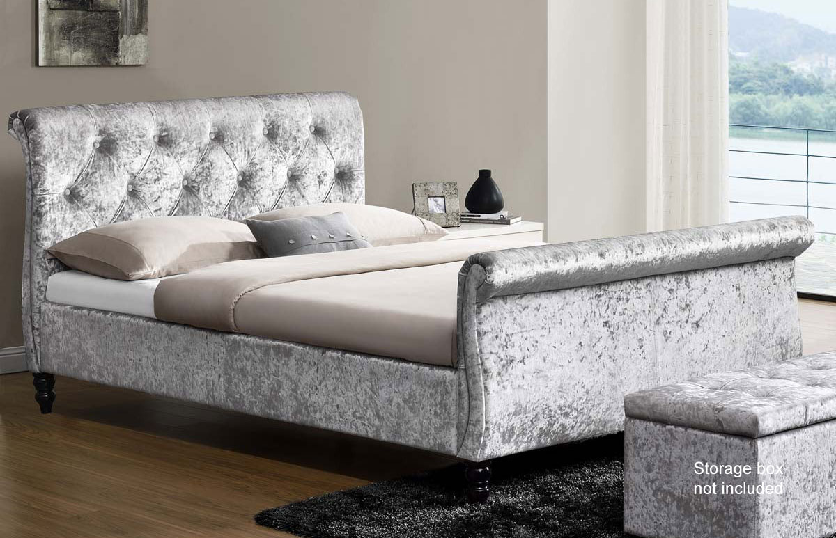 Wellington crushed velvet sleigh bed for Beds wellington