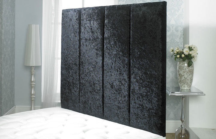 Alicia Crushed Velvet Vertical Panel Wallboard Black