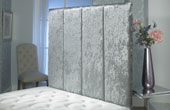 Alicia Crushed Velvet Vertical Panel Wallboard Silver