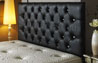 Bedford Buttoned Faux Leather Headboard Black