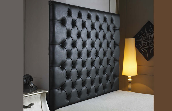 Belmont Buttoned Faux Leather Wallboard Black