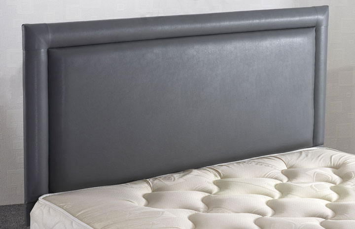 Bewdley Faux Leather Headboard With Border Grey