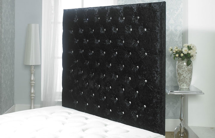 California-Wallboard Crushed Velvet Buttoned Wallboard Black