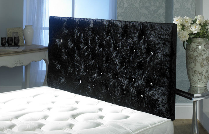 California Crushed Velvet Buttoned Headboard Black