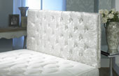California Crushed Velvet Buttoned Headboard Ivory