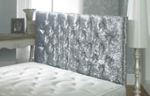 California Crushed Velvet Buttoned Headboard Silver