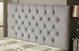Carlton Buttoned Chenille Headboard Light-Grey