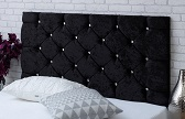 Chelsea-Cv Deep Buttoned Crushed Velvet Headboard Black