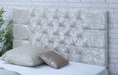 Chelsea-Cv Deep Buttoned Crushed Velvet Headboard Cream