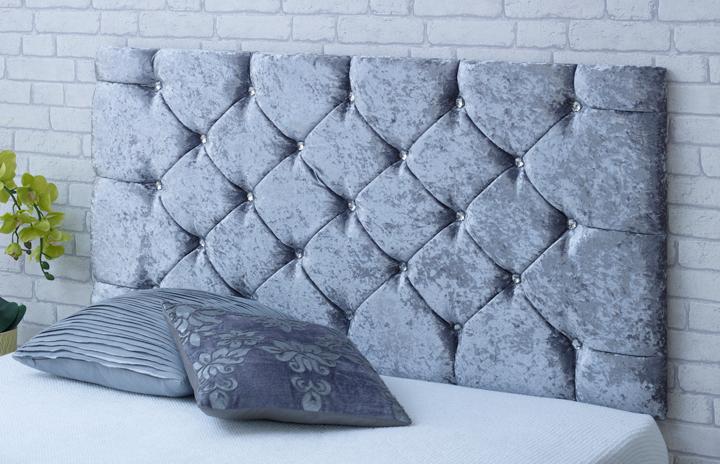 Chelsea-Cv Deep Buttoned Crushed Velvet Headboard Grey