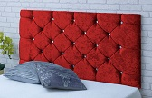Chelsea-Cv Deep Buttoned Crushed Velvet Headboard Red