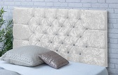 Chelsea-Cv Deep Buttoned Crushed Velvet Headboard White