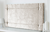 Idaho-Cv Border Effect Crushed Velvet Headboard Cream