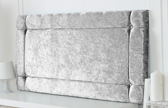 Idaho-Cv Border Effect Crushed Velvet Headboard Silver