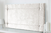 Idaho-Cv Border Effect Crushed Velvet Headboard White