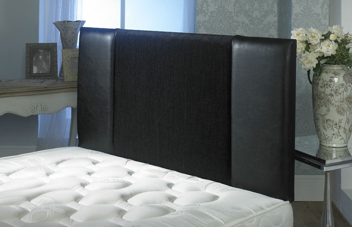 Oxford Crushed Velvet And Faux Leather Vertical Panel Headboard Black