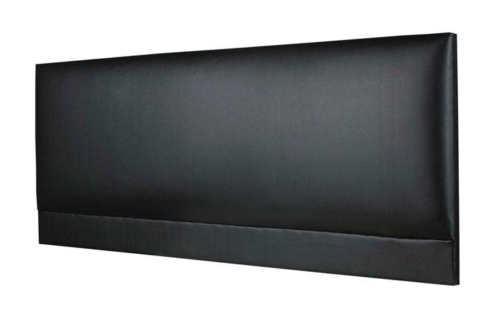 Raffles Buttoned Faux Leather Headboard Black