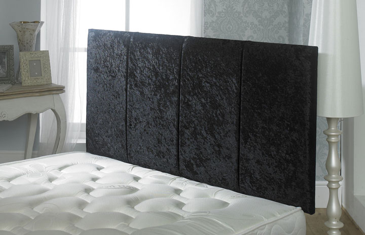 Surrey Crushed Velvet Vertical Panel Headboard Black