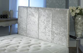 Surrey Crushed Velvet Vertical Panel Headboard Ivory