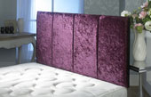 Surrey Crushed Velvet Vertical Panel Headboard Maroon