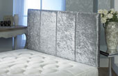 Surrey Crushed Velvet Vertical Panel Headboard Silver