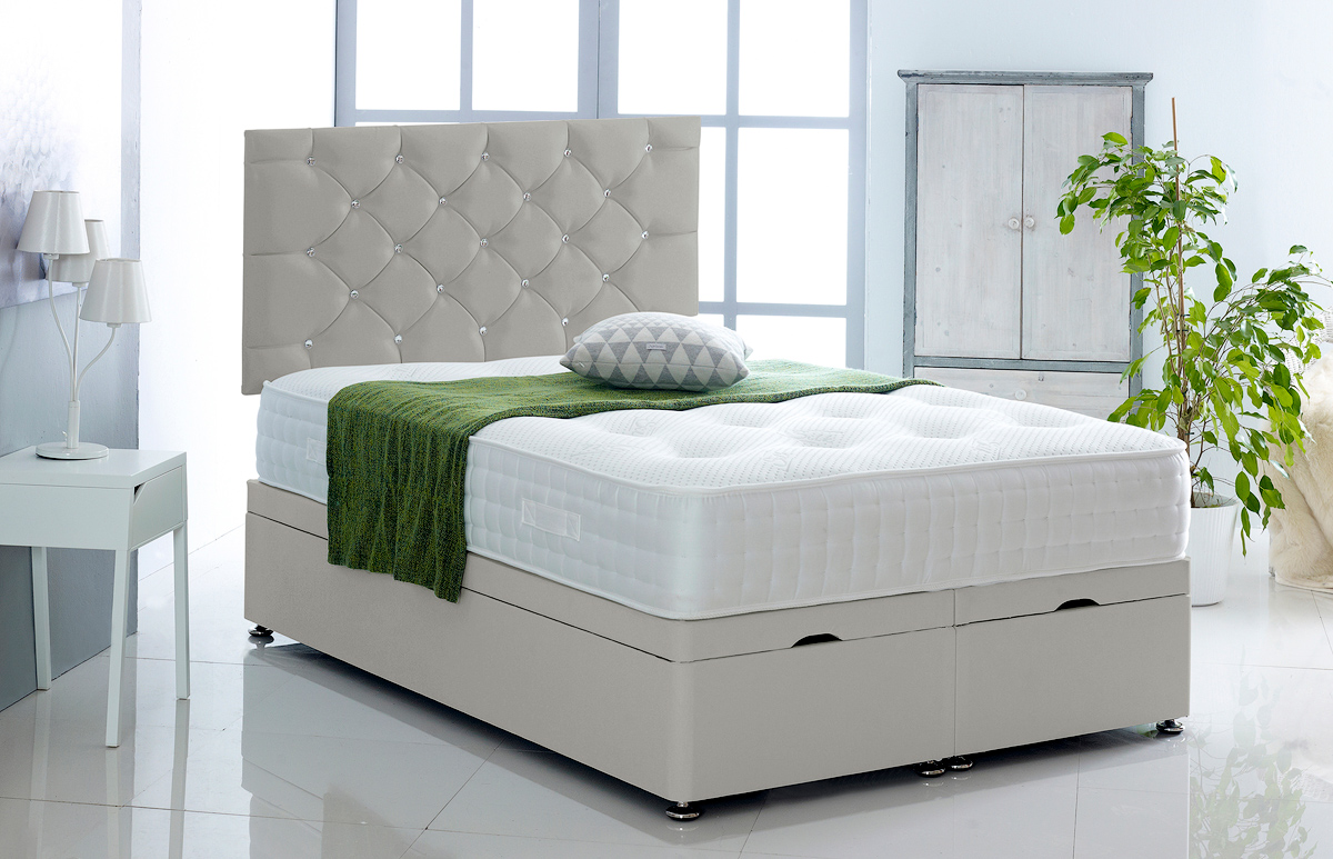Alexis Ottoman Storage Divan Base And Headboard In Faux
