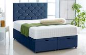 Alexis-Ottoman-Plush-Velvet Ottoman Storage Bed In Plush Velvet Blue