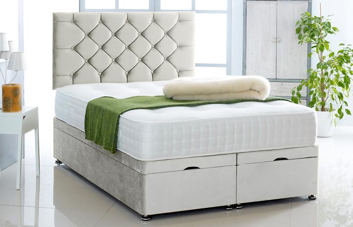 Alexis-Ottoman-Plush-Velvet Ottoman Storage Bed In Plush Velvet Silver