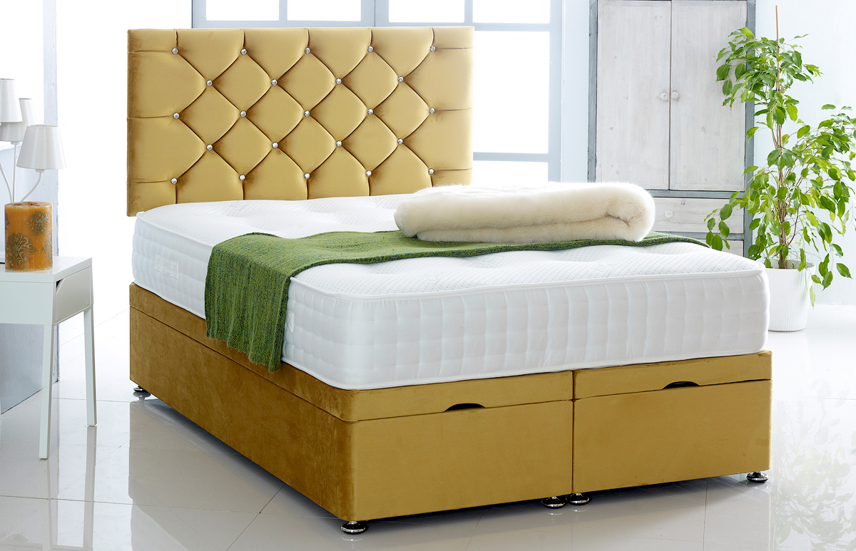 Alexis Ottoman Storage Divan Base And Headboard In Plush Velvet Free Delivery