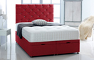 Ottoman-Chenille Ottoman Storage Bed In Luxury Chenille Red