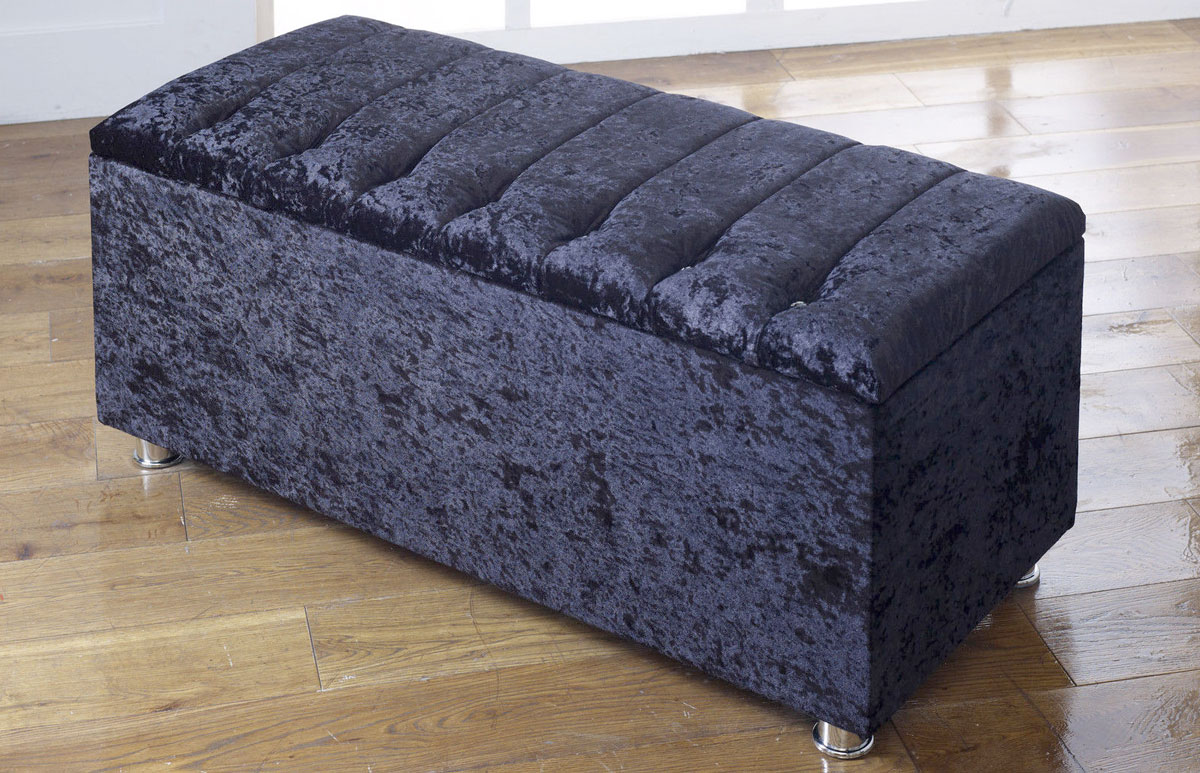 New Ottoman Storage Blanket Box In Crushed Velvet