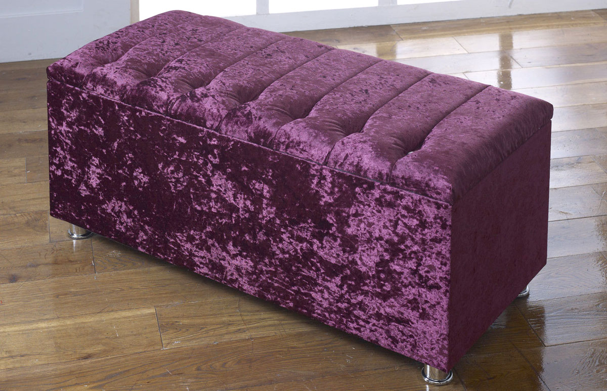 New Ottoman Storage Blanket Box In Crushed Velvet