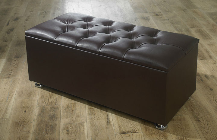 New Ottoman Storage Blanket Box In Faux Leather
