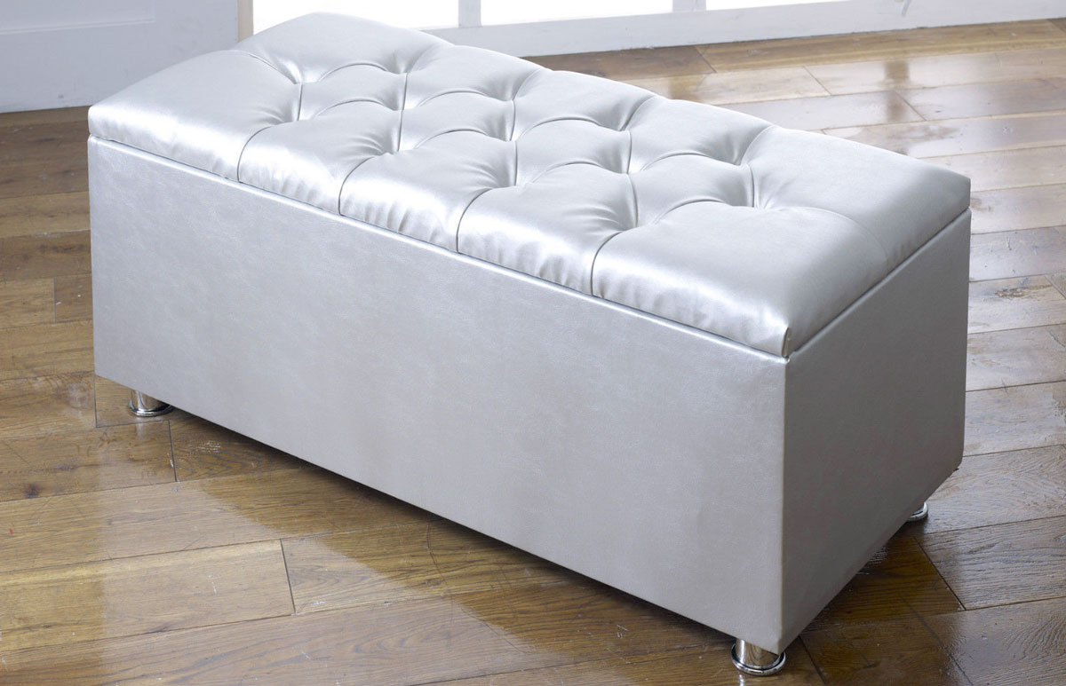 Faux Leather Ottoman With Storage