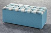 Ottoman-Plaid Ribbed Edge Faux Leather Headboard Blue1