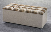 Ottoman-Plaid Ribbed Edge Faux Leather Headboard Brown1