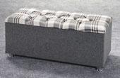 Ottoman-Plaid Ribbed Edge Faux Leather Headboard Granite1