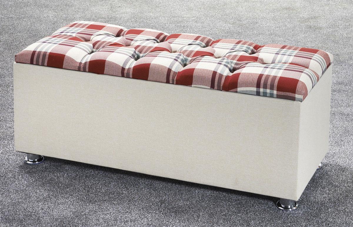 New Ottoman Storage Blanket Box Plaid