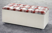 Ottoman-Plaid Ribbed Edge Faux Leather Headboard Red1