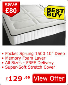 1500 Pocket Sprung Quilted Mattress with Memory Foam 2J